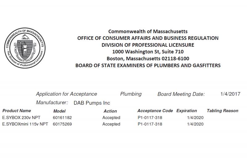 Massachusetts Approval